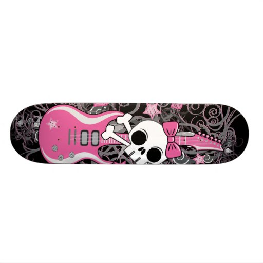Cute Skull with Pink Guitar Skate Board Deck