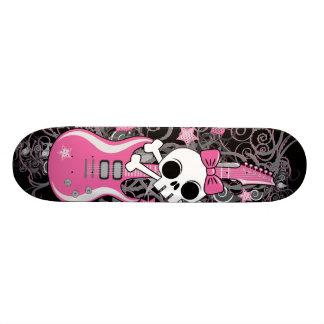 Cute Skull with Pink Guitar Skateboard Deck
