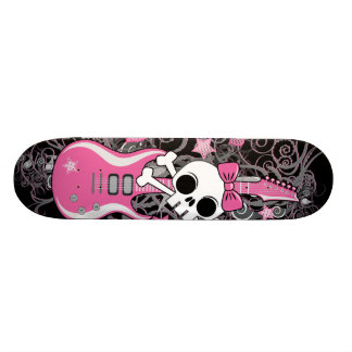 Cute Skull with Pink Guitar Skateboard Decks