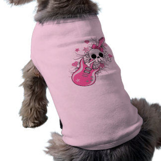 Cute Skull with Pink Guitar Tee