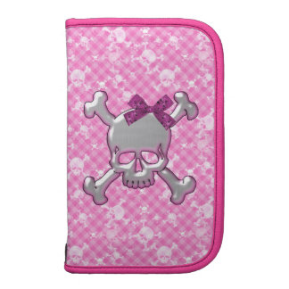 Cute Skull with Ribbon Pink Folio Planner
