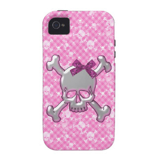 Cute Skull with Ribbon Pink iPhone 4 Case