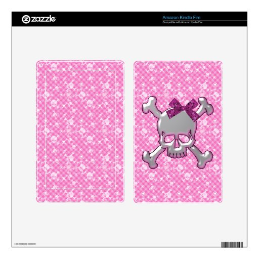 Cute Skull with Ribbon Pink Kindle Fire Skin