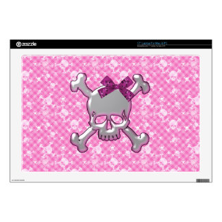Cute Skull with Ribbon Pink Laptop Skin