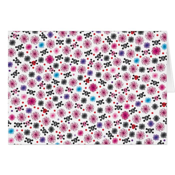 Cute skulls and flowers note card