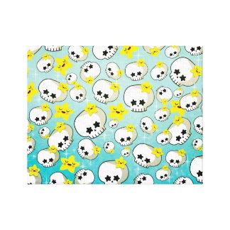Cute Skulls And Stars Pattern Canvas Print