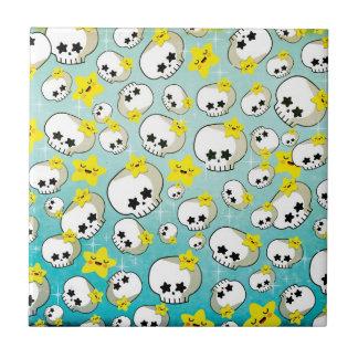Cute Skulls And Stars Pattern Ceramic Tiles