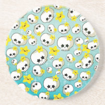 artsprojekt, skulls, halloween gift, halloween pattern, halloween, star, kawaii gift, skulls pattern, cute skull, skull gift, kawaii pattern, cute pattern, kawaii graphic design, kawaii, kawaii skull, kawaii star, cute, skulls gift, skulls present, kawaii present, halloween present, cute halloween, stars, Descanso para copos com design gráfico personalizado