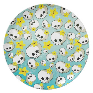 Cute Skulls And Stars Pattern Plate