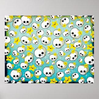 Cute Skulls And Stars Pattern Print