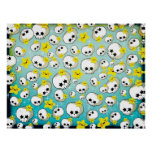 Cute Skulls And Stars Pattern Print