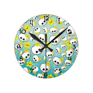 Cute Skulls And Stars Pattern Round Clock