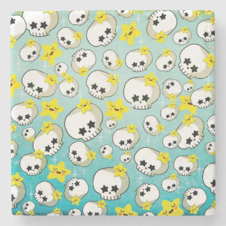 Cute Skulls And Stars Pattern Stone Coaster