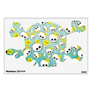 Cute Skulls And Stars Pattern Wall Sticker