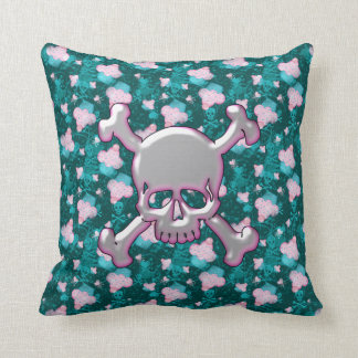 Cute Skulls & Cupcakes Teal Pillow