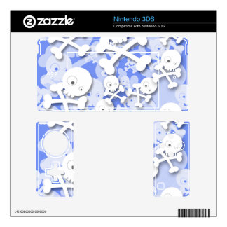 Cute Skulls Design on Blue 3DS Decal