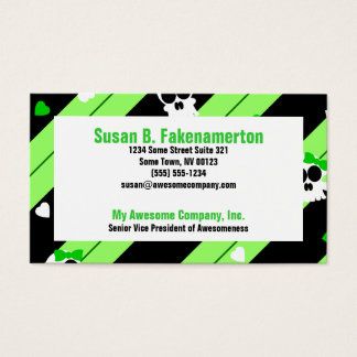 Cute Skulls Green and Black Business Cards