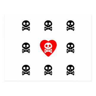 Cute Skulls Love Postcard