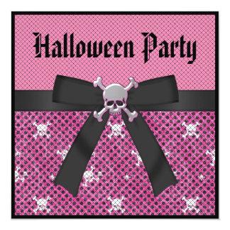 Cute Skulls Pink & Black Halloween Party Invitation