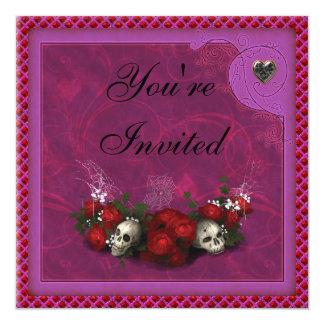 Cute Skulls, Roses & Hearts Birthday Party Invites