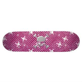 Cute SkullsPink Skateboard with Black Polka Dots