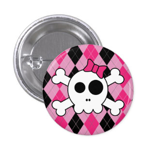 Cute Skully and Argyle 1 Inch Round Button