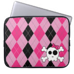 Cute Skully and Argyle Laptop Sleeve Case