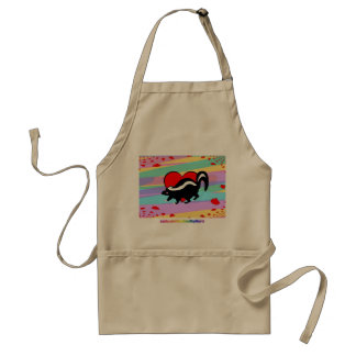 Cute Skunk Heart. Happy Anti-Valentines Day! Adult Apron