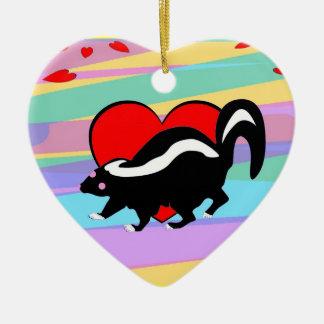 Cute Skunk Heart. Happy Anti-Valentines Day! Ceramic Ornament