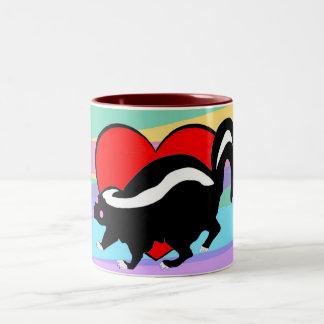 Cute Skunk Heart. Happy Anti-Valentines Day! Mugs