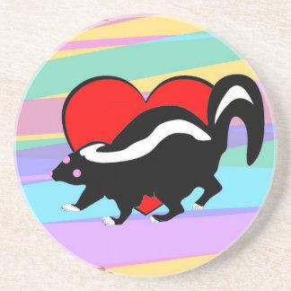 Cute Skunk Heart. Happy Anti-Valentines Day! Sandstone Coaster
