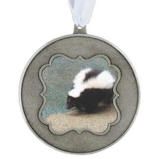 Cute Skunk Scalloped Ornament