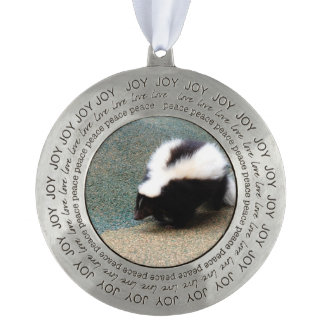 Cute Skunk Round Pewter Ornament
