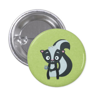 Cute Skunk with Flower on Green Buttons