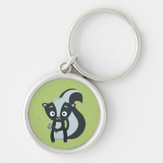 Cute Skunk with Flower on Green Keychain