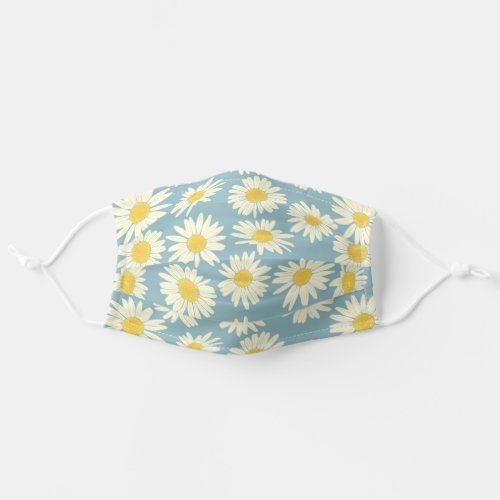 Cute Sky Blue And White Floral Daisy Cloth Face Mask