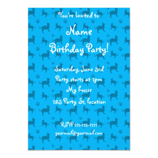 Cute sky blue cats and paws pattern 5x7 paper invitation card