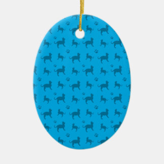 Cute sky blue cats and paws pattern Double-Sided oval ceramic christmas ornament