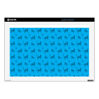 Cute sky blue cats and paws pattern skins for laptops