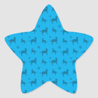 Cute sky blue cats and paws pattern star sticker