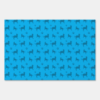Cute sky blue cats and paws pattern yard sign