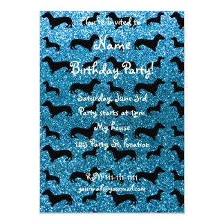Cute sky blue dachshund glitter pattern 5x7 paper invitation card