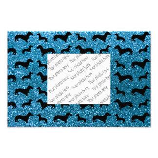 Cute sky blue dachshund glitter pattern photo print