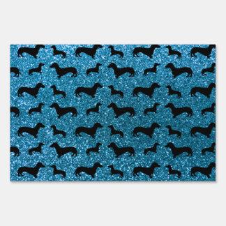 Cute sky blue dachshund glitter pattern sign