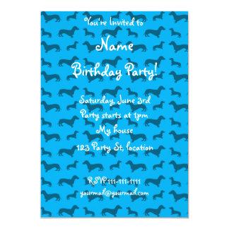 Cute sky blue dachshund pattern announcements