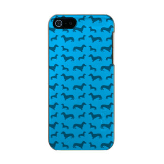 Cute sky blue dachshund pattern metallic phone case for iPhone SE/5/5s
