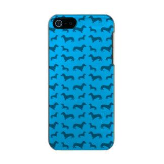 Cute sky blue dachshund pattern metallic phone case for iPhone SE/5/5s