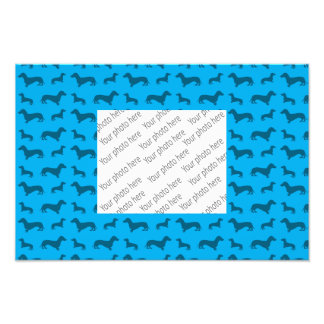 Cute sky blue dachshund pattern photo
