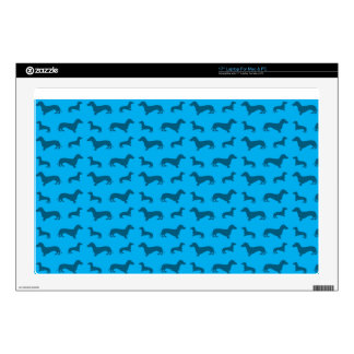 "Cute sky blue dachshund pattern skin for 17"" laptop"