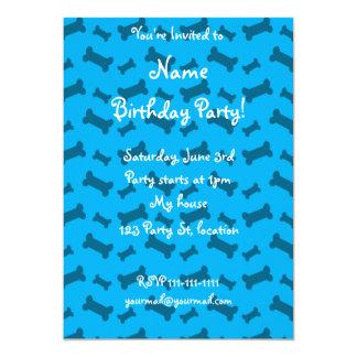 Cute sky blue dog bones pattern 5x7 paper invitation card